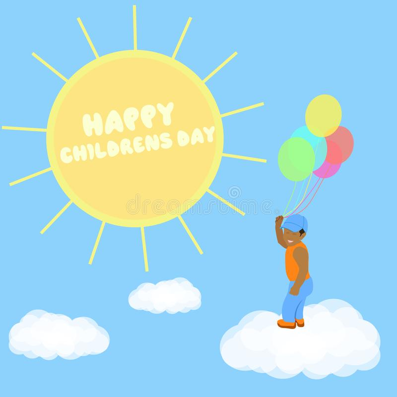 Χρόνια πολλά για τη γιορτή των παιδιών Ένα αγόρι σε σύννεφο με μπαλόνια πετάει προς τον ήλιο Εικόνα διανύσματος ελεύθερη απεικόνιση δικαιώματος