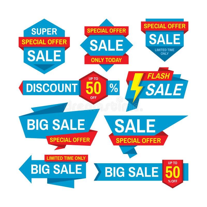 Diseño de placa vectorial de etiqueta de venta Descuento de la colección de etiquetas abstractas Oferta especial, mejor precio, c stock de ilustración