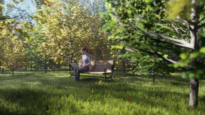 Φθινοπωρινό πάρκο χρωμάτων Θέα πολύχρωων φθινοπωρινών δέντρων σε ηλιόλουστη φθινοπωρινή ημέρα Κορίτσι που κάθεται με ένα φορητό υ ελεύθερη απεικόνιση δικαιώματος