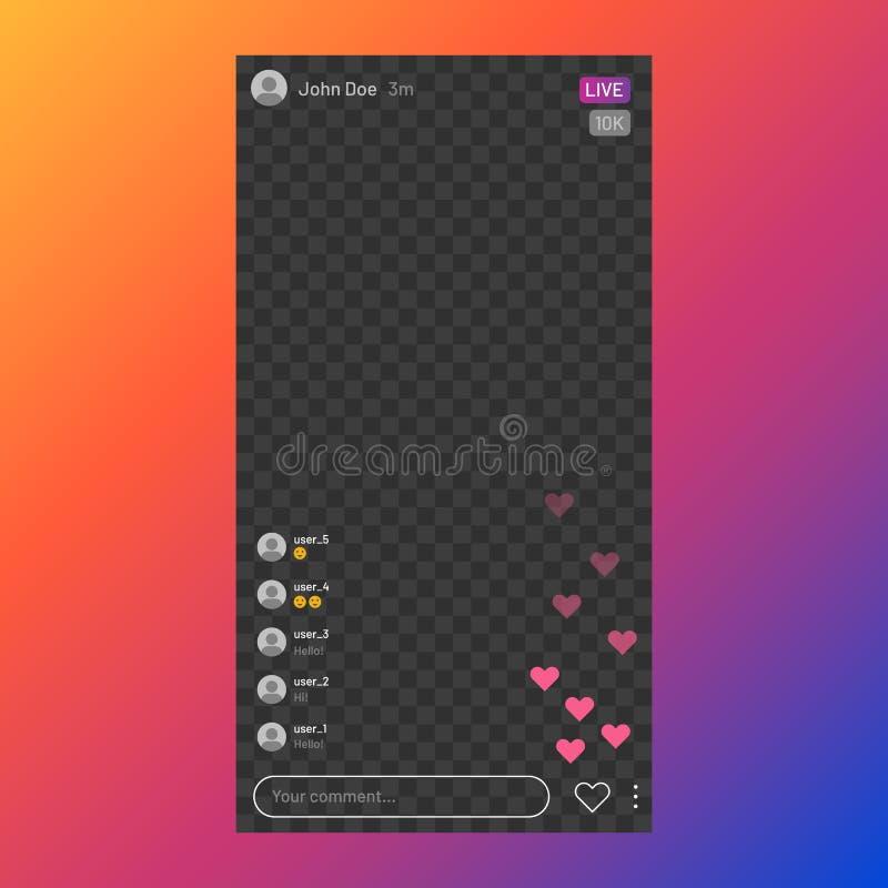 Interfaccia di flusso Instagram Servizio di streaming dal vivo sui social media, interfaccia utente fotogramma dell'app mobile, v illustrazione di stock
