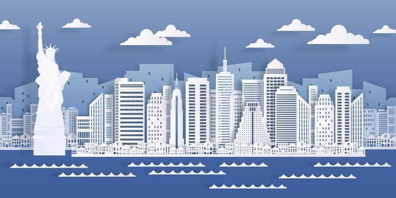 Landmärke för New York-papper Den amerikanska stadsskyltvyn, det moderna cityscape i origami-stil Vektorvitt papper skrapa royaltyfri illustrationer