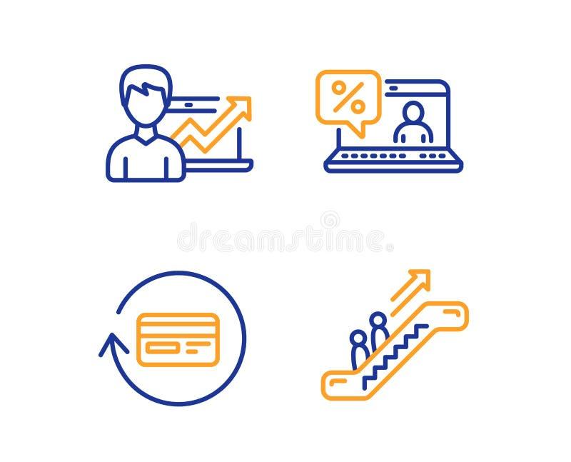 退款佣金、在线贷款和成功业务图标集 自动扶梯标志 矢量 向量例证