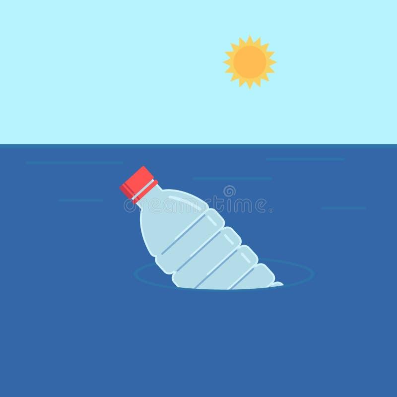 塑料瓶浮游物在水中 在平的样式的生态概念 r ?? 皇族释放例证