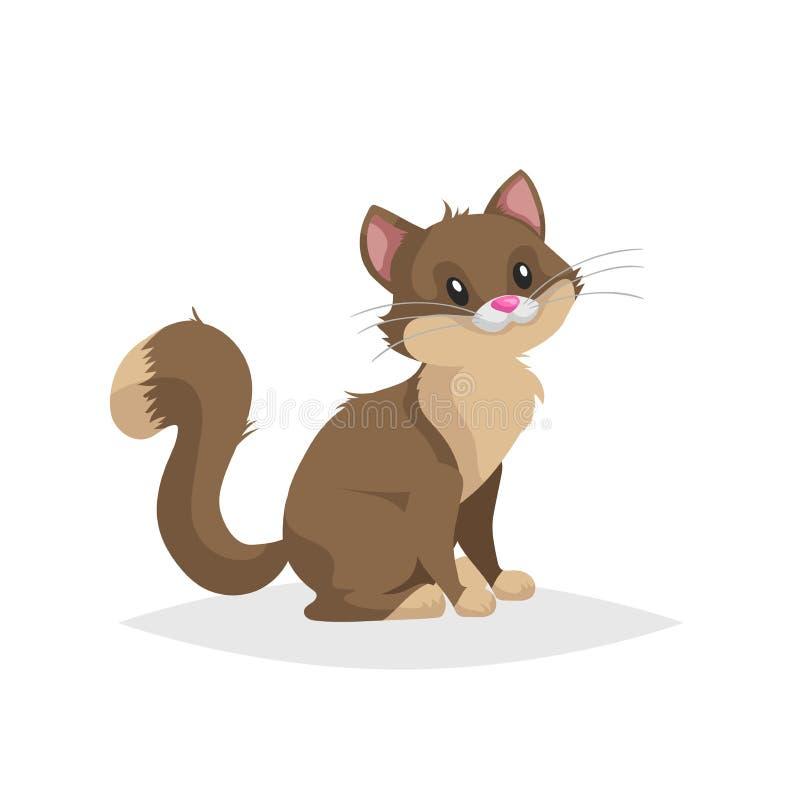 可爱的棕色卡通猫 家畜 宠物画 平面喜剧风格 教育理想 矢量图 库存例证