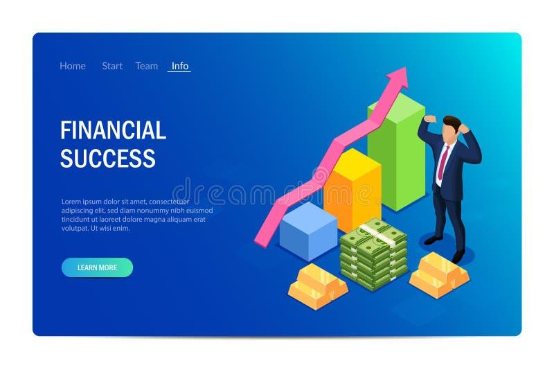 金融成功概念 设计网站 可用于Web横幅、信息图形、英雄图像 平 皇族释放例证