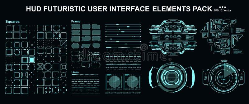 πακέτο mega set για στοιχεία HUD Ο πίνακας εργαλείων εμφανίζει οθόνη τεχνολογίας εικονικής πραγματικότητας Φουτουριστικό περιβάλλ απεικόνιση αποθεμάτων