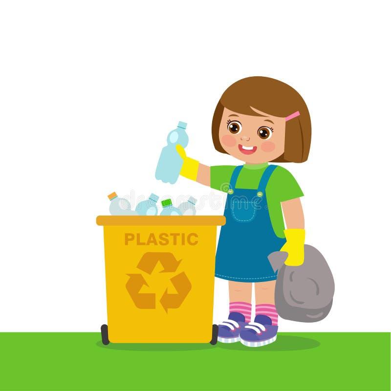 Молодая девушка, кидающая пластиковые бутылки в корзину Переработка отходов Защита окружающей среды бесплатная иллюстрация