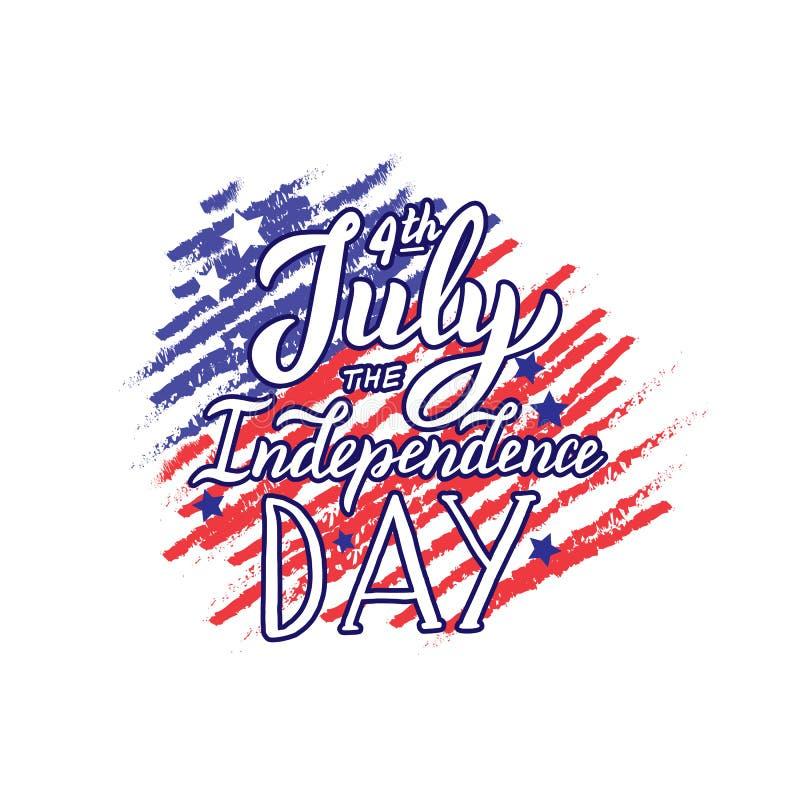 Счастливого 4-го июля цитата Надпись дня независимости Печать для одежды, кружки, открытки иллюстрация вектора