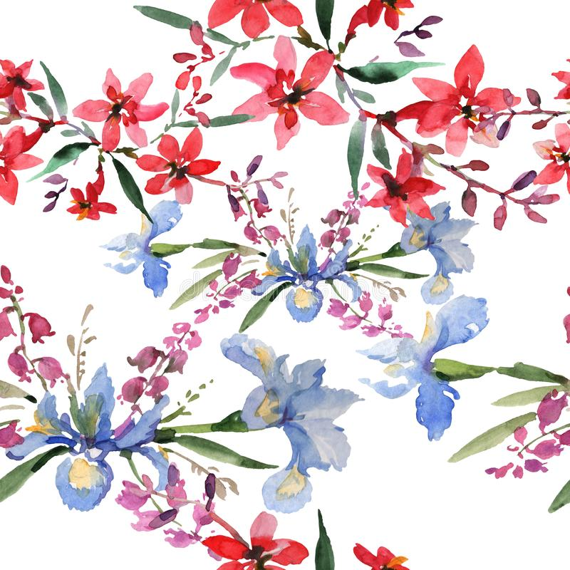 Άνθη βοτανικά άνθη ανθοδέσμου Σύνολο απεικόνισης φόντου υδατοχρώματος Ομαλό μοτίβο φόντου απεικόνιση αποθεμάτων