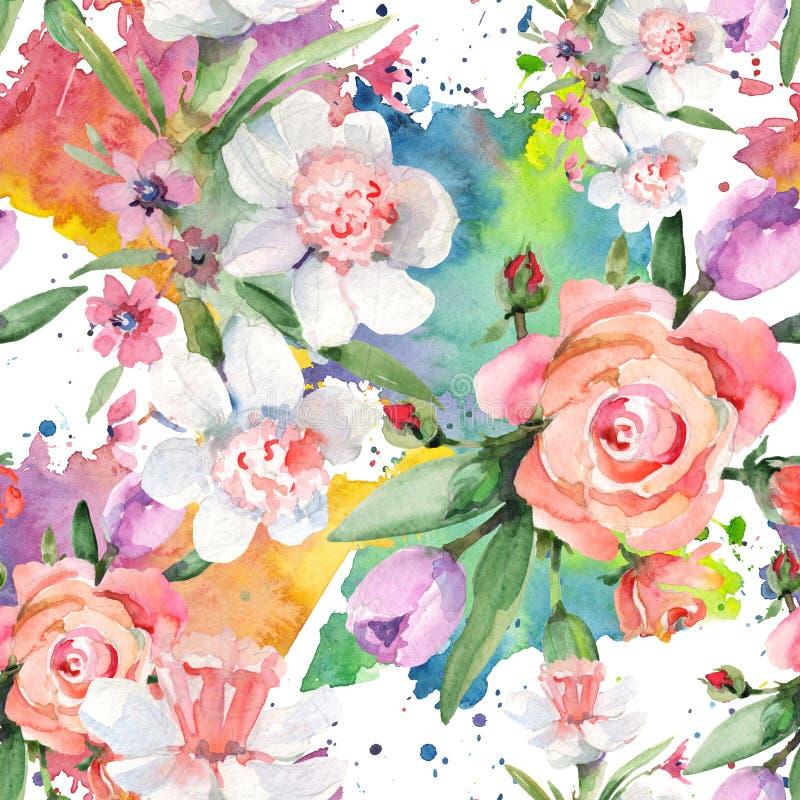 花卉植物花 水彩背景插图集 无缝背景模式 库存例证