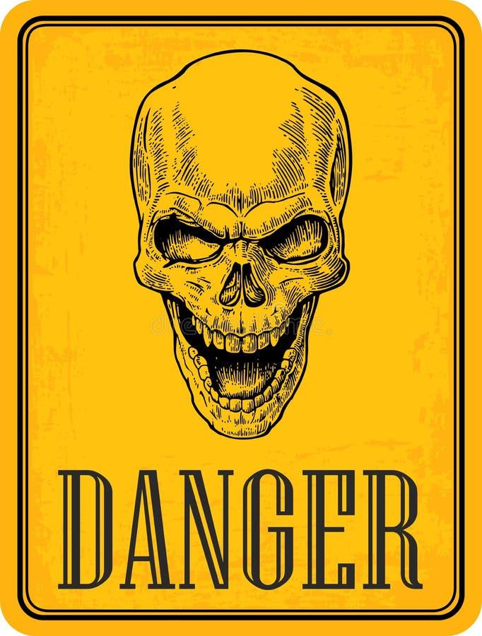在标志危险的头骨 r r o 皇族释放例证