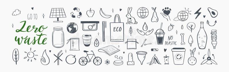 零废矢量手绘信息图集 收集生态和自然元素 绿色概念 库存例证