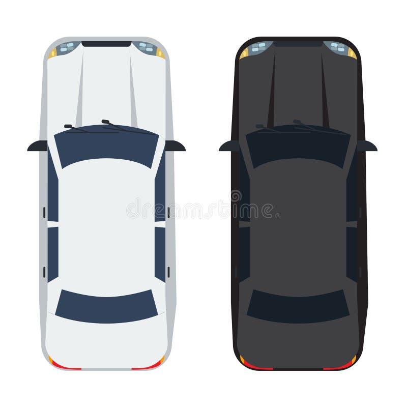 两白色和黑轿车汽车有顶视图 坚实和平的颜色样式设计 皇族释放例证