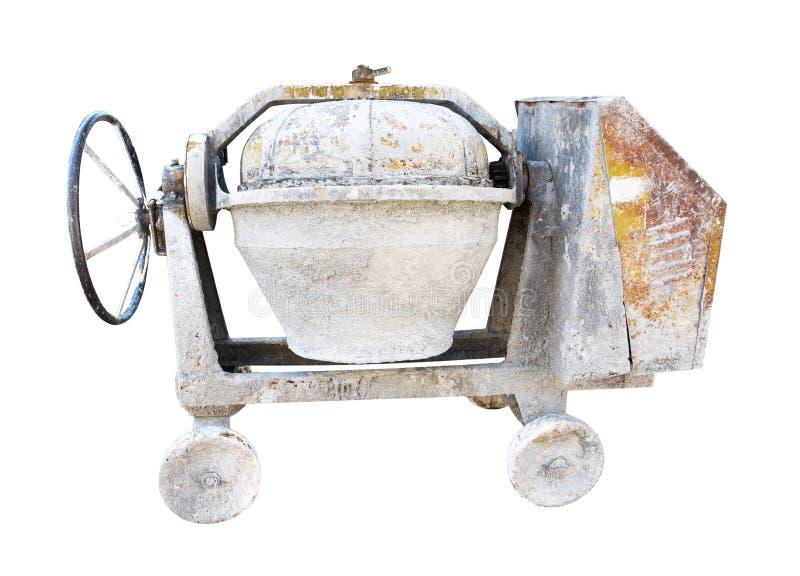 在白色背景隔绝的混凝土搅拌机 r 免版税图库摄影