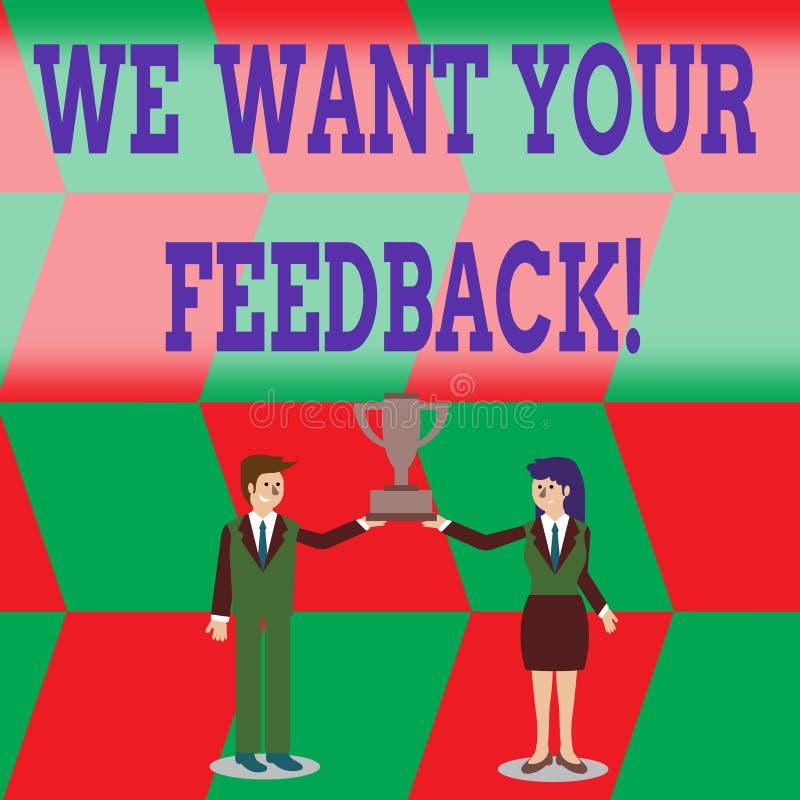 写笔记陈列我们想要您的反馈 指定的企业照片陈列的批评某人说可以做为 库存例证