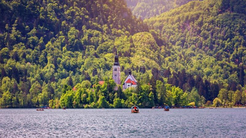 Озеро кровоточило Словению Красивое озеро горы с небольшой церковью паломничества r стоковые фотографии rf
