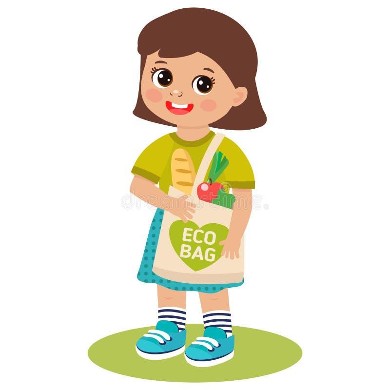 有Eco袋子的逗人喜爱的愉快的少女 传染媒介动画片平的样式例证设计 库存例证