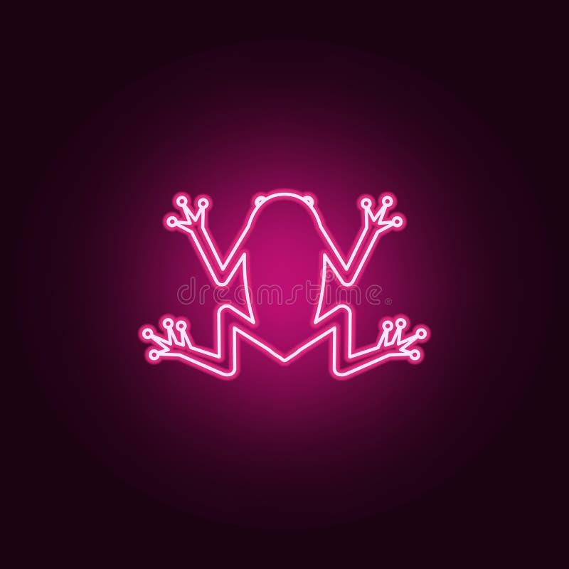 Неоновая икона лягушки Элементы набора Sciense простой значок для веб-сайтов, веб-дизайна, мобильного приложения, инфографики иллюстрация штока