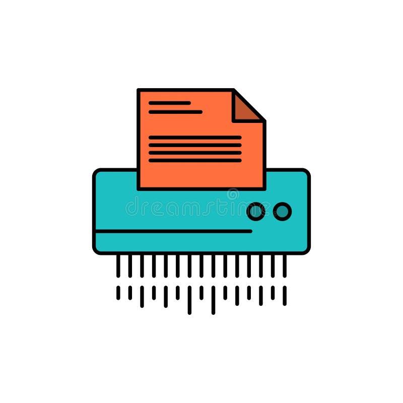 Шредер, конфиденциальный, данные, файл, информация, офис, бумажный плоский значок цвета Шаблон знамени значка вектора бесплатная иллюстрация