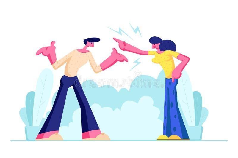 年轻家庭争吵和发誓户外 积极的男人和妇女在彼此叫喊 在丈夫和妻子之间的丑闻 向量例证