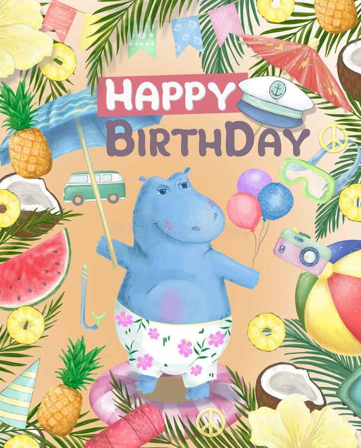 Ilustração do hipopótamo de Verão Dê-me o verão Impressão divertida do hipopótamo para aniversário ou festa do Baby Shower animal ilustração stock