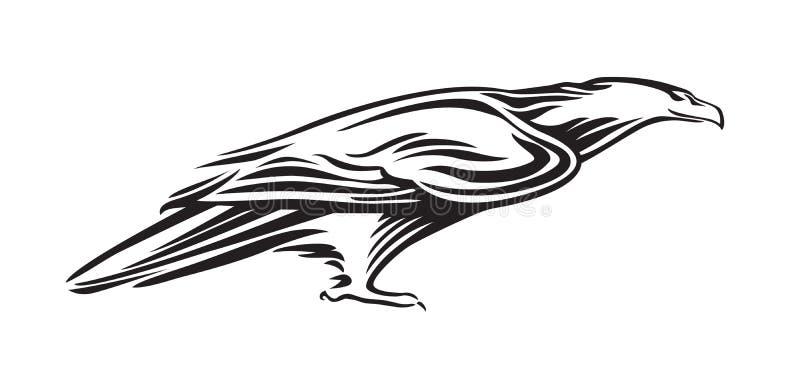 鹰造型 载体动物图解,黑色在白色背景上隔离 纹身、徽标或 库存例证