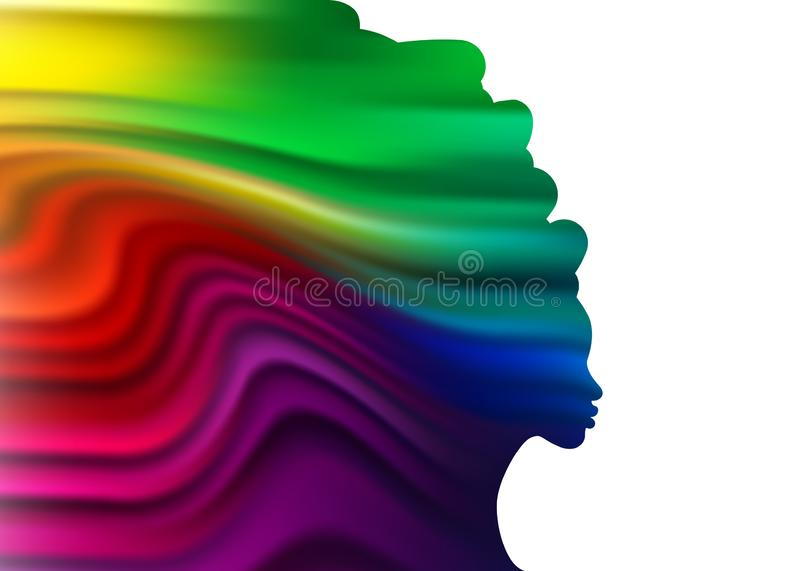 一名妇女的美丽的五颜六色的剪影波浪液体形状的 秀丽中心概念的模板,发型沙龙,温泉 ?? 向量例证