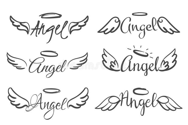 Anges emblèmes d'ailes Aile d'ange-plume et halo, croquis plumes tatouage à la ligne d'oiseau Silhouettes à ailes dessinées à la  illustration stock