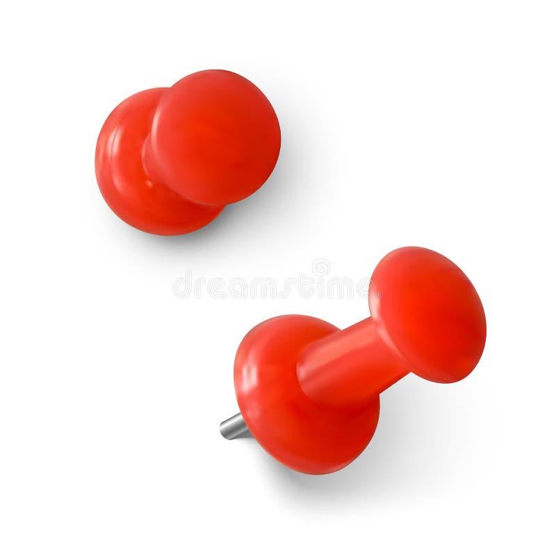 红色推针 真实的红色回形针 板上固定备注用针 在白色背景上隔离的矢量图 向量例证