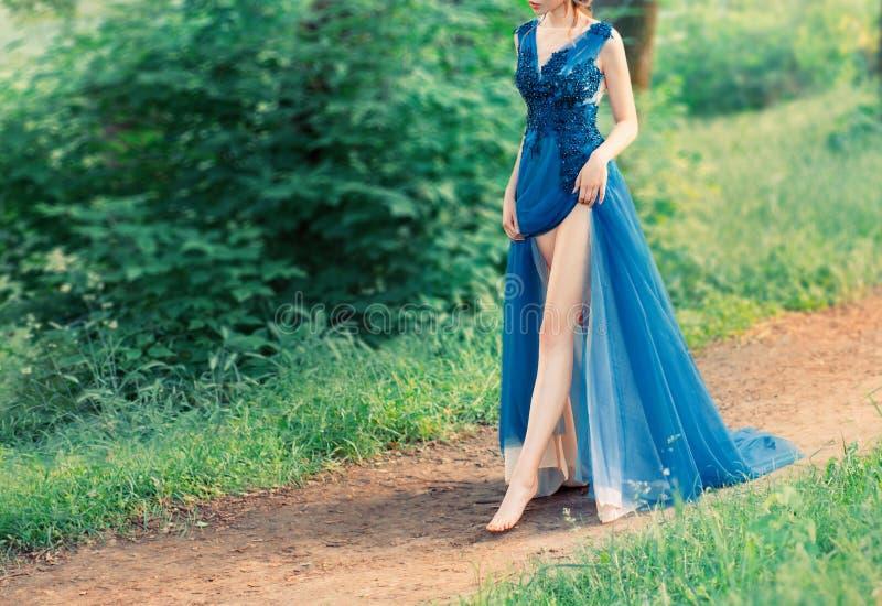 美人鱼神奇故事在得到腿的爱,与邪恶的巫婆的成交的 别致的蓝色长的天堂般的神的礼服 ?? 库存图片