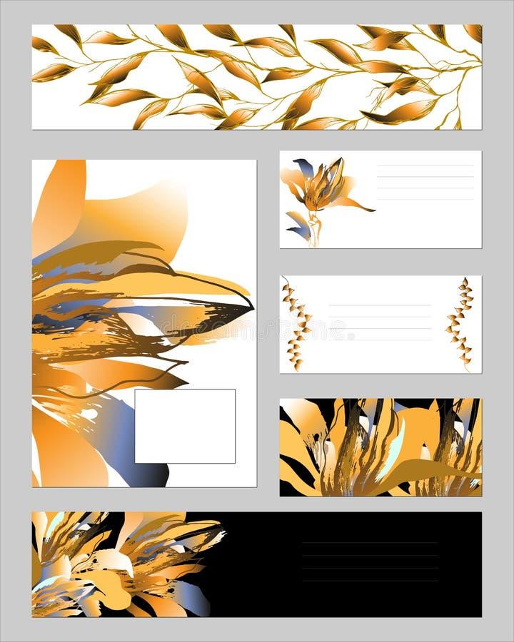 Schablonen für Unternehmensidentitä5 mit Goldblumen und -blättern Stellen Sie von den Visitenkarten und von den Schablonen für Te lizenzfreie abbildung