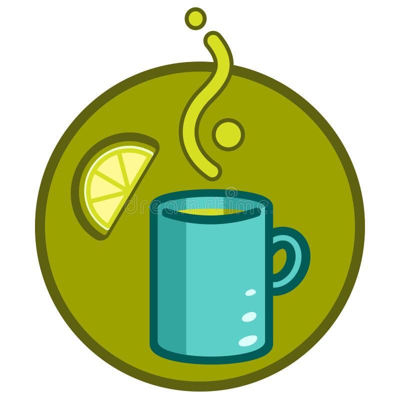 En kopp med en varm drink och citron Ånga kommer ut ur koppen Symbolen på temat av mat, hälsa stock illustrationer
