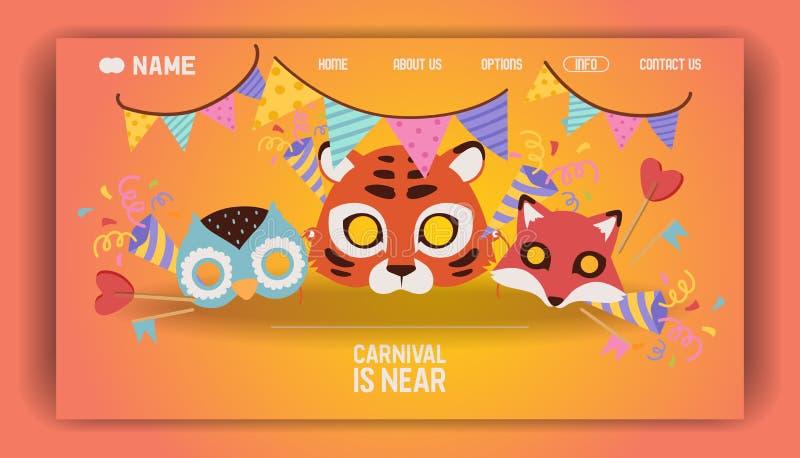 SEITEN-Vektorillustration der Karnevalsmaske Landungs Kunst-Unterhaltungskarte der Unterhaltung festliche Festivalzirkusfahne ode lizenzfreie abbildung