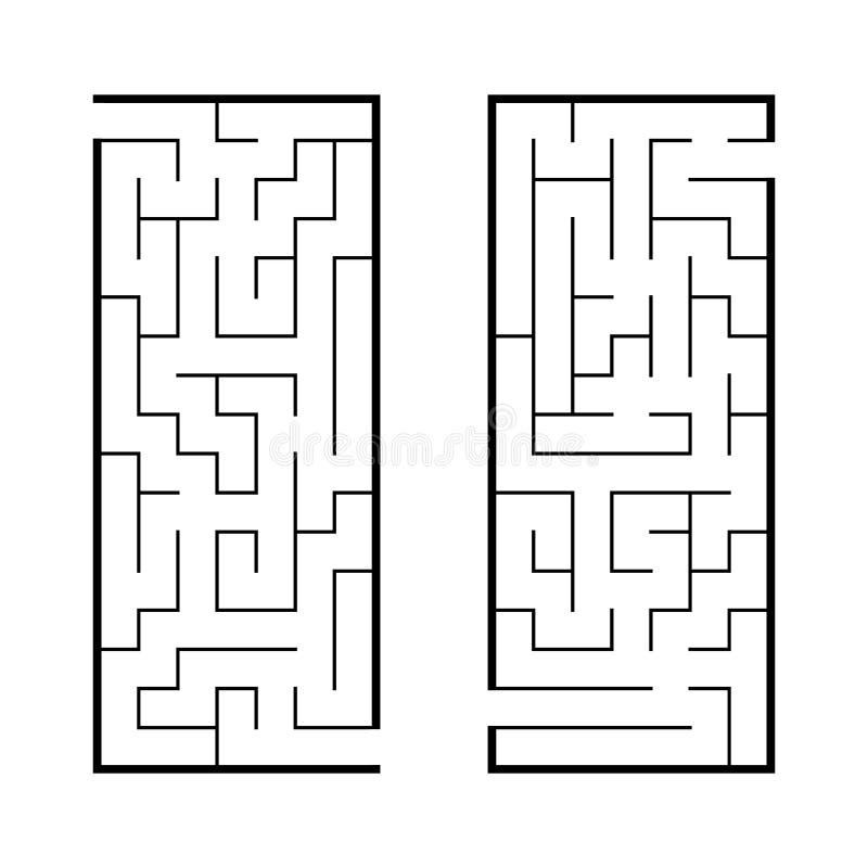 一组曲 儿童游戏 儿童拼图 迷宫谜 查找正确的路径 矢量图 库存例证
