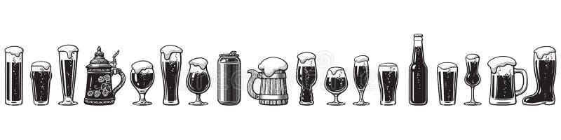 Проводник стеклоизделия пива Различные типы стекел пива E иллюстрация вектора