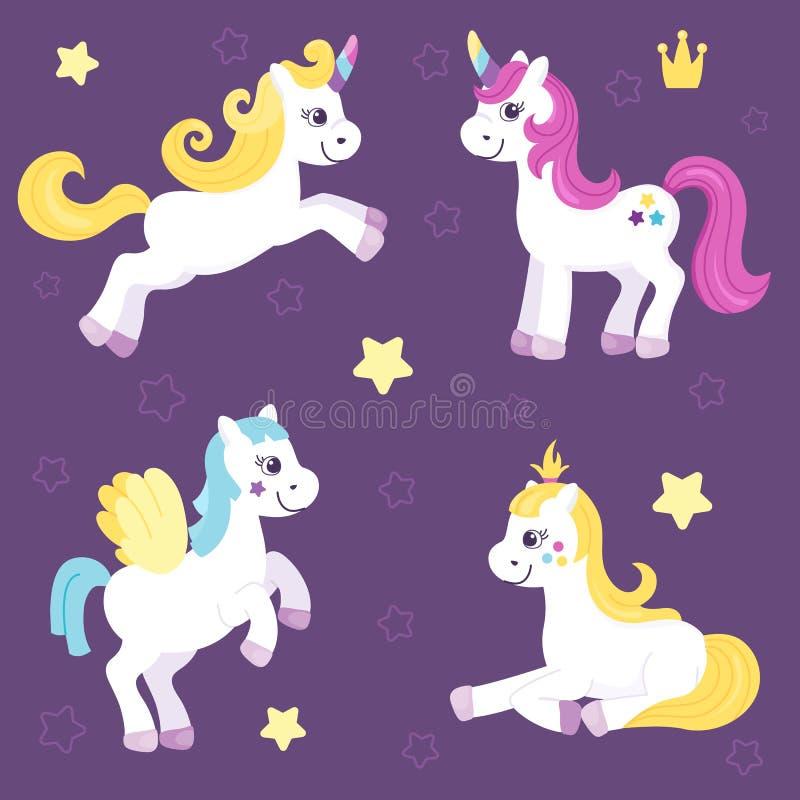 一组可爱的独角兽和美丽的马 给小女孩买小马 矢量图 卡通平面 向量例证