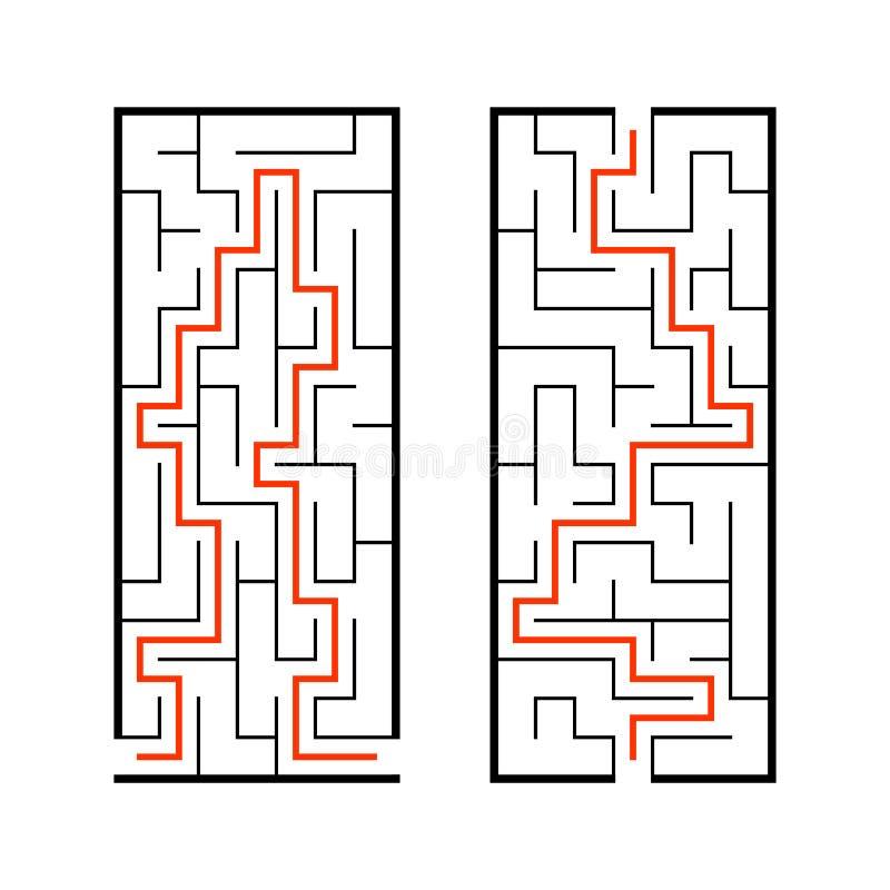 一组曲 儿童游戏 儿童拼图 迷宫谜 查找正确的路径 矢量图 向量例证