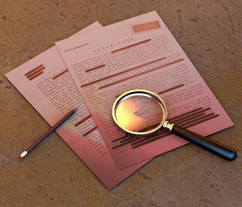 Сверхсекретный документ, рассекречиванная, конфиденциальная информация, секретный текст данные по Не-публики Лист бумаги с раскла иллюстрация штока