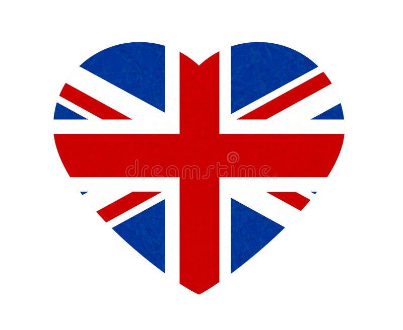 Grunge flaga Wielki Brytania, UK Angielski sztandar z porysowaną teksturą w kształta sercu Wektorowa ikona flaga Anglia royalty ilustracja