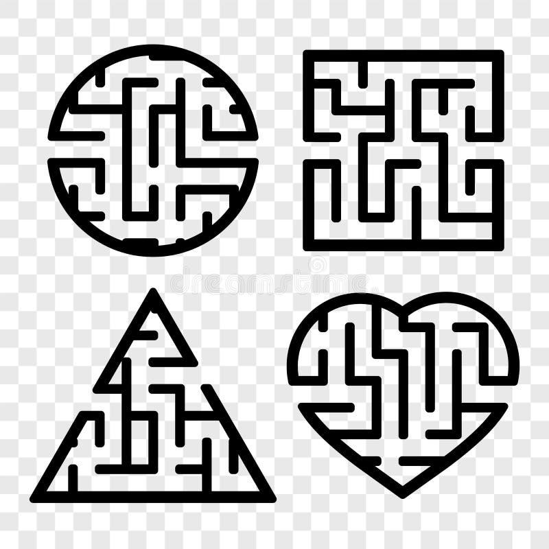 一组曲 儿童游戏 儿童拼图 迷宫谜 查找正确的路径 矢量图 皇族释放例证