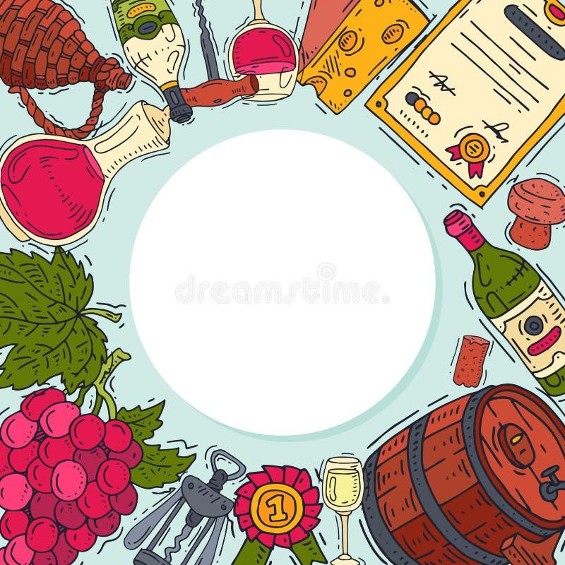 De club van de wijnsmaak om van de het glaswijn van patroon vectorillustraties de druivenfles Proevend gebeurtenissenmenu Vectora vector illustratie