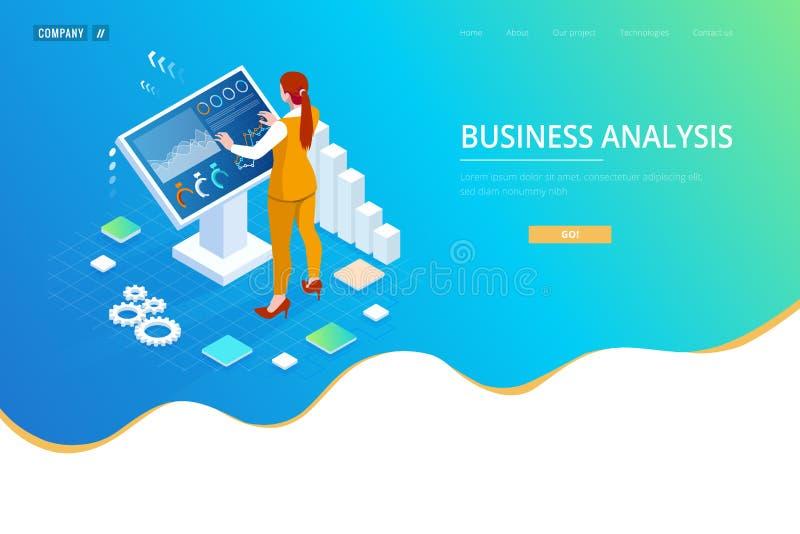 Isometrischer digitaler Monitor mit infographics Weibliche Stellung an der großen Anzeige Konzept der Geschäftsunterstützung vektor abbildung