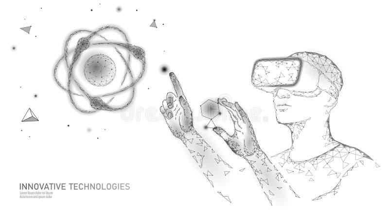 Begrepp för virtuell verklighetvetenskapsforskning Teknikerarbete på projekt ökad verklighet för hörlurar med mikrofonvr för expo royaltyfri illustrationer