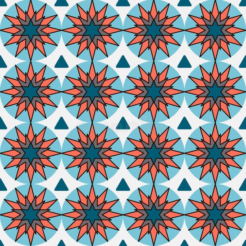 Modern mosiac geometrisch patroon Cirkel grafische naadloze desifn Kleurrijke ceraic achtergrond Helder kleurrijk binnenlands ont stock illustratie