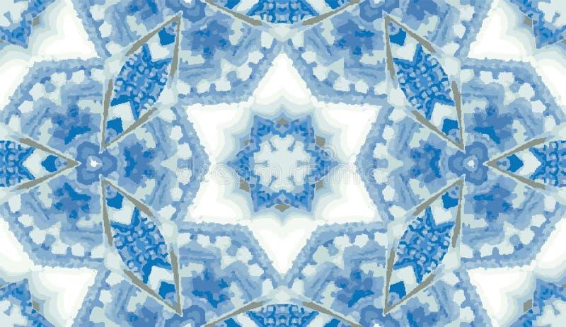 抽象五颜六色的万花筒无缝的样式 几何花卉传染媒介背景 马赛克azulejo坛场图表样片 库存例证