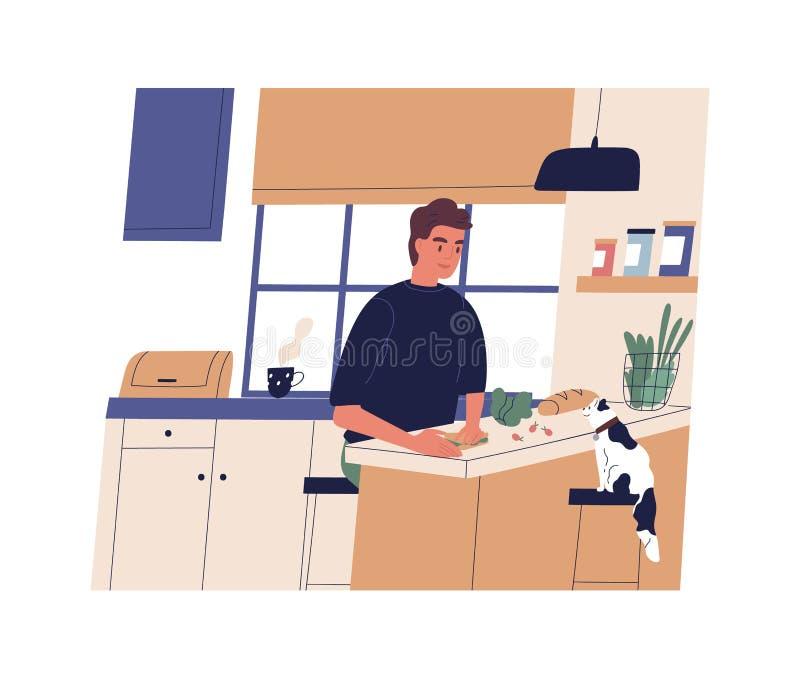 做三明治的滑稽的年轻人在厨房里 在家烹调愉快的逗人喜爱的男孩 准备早餐,午餐的微笑的人或 向量例证