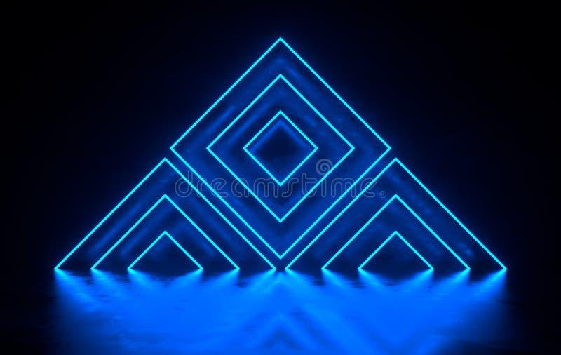未来派有发光的科学幻想小说具体室霓虹 虚拟现实门户,充满活力的颜色,激光能来源 蓝色霓虹灯 皇族释放例证