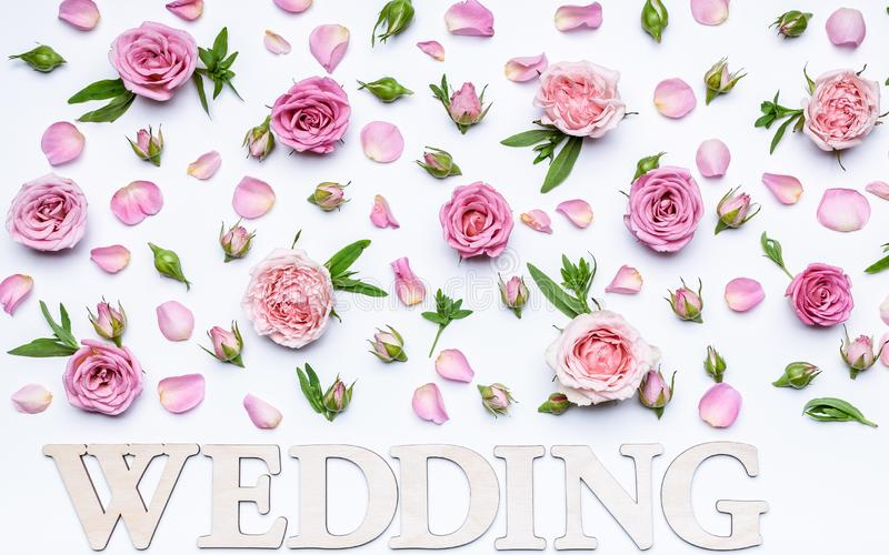 Blom- gifta sig modell på en vit bakgrund Kronblad, blommor och knoppar av rosor Tom hälsa kort- eller bröllopinbjudan Ord: fotografering för bildbyråer