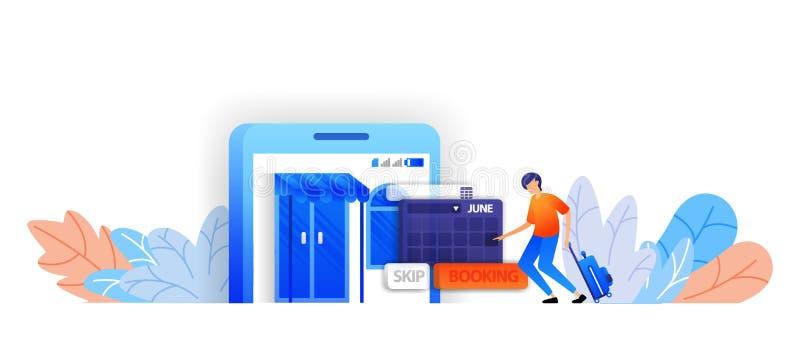 Bilety na podróże turystyczne i hotele organizowanie wakacji i rozkładów podróży 3d pojęcie ilustracji wektorowej aplikacji mobil ilustracji