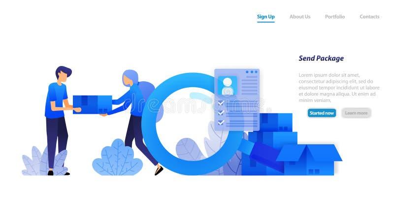Entregue los paquetes a los clientes productos de distribución del comercio electrónico con la protección de datos completa del c stock de ilustración